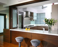 Interior design - kitchen. Dry kitchen with bar counter Stock Photography