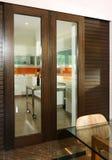 Interior design - kitchen. Dry kitchen with sliding timber doors Stock Photo