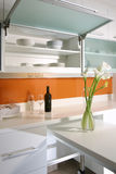 Interior design - kitchen. Dry kitchen with top hung cabinet Royalty Free Stock Image