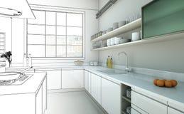 Interior Design Kitchen Drawing Gradation Into Photograph royalty free stock photo