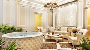 Interior design relaxation room in a classic style. Interior design large relaxation room in a classic style royalty free stock images
