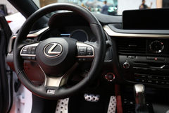 Interior Design of Lexus NX 300h displayed at 3rd edition of MOTO SHOW in Cracow Poland. Royalty Free Stock Photos