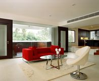 Interior design - living. Living area with red sofa Stock Photography