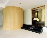 Interior design - living. Living area with bended veneer Royalty Free Stock Image