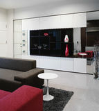 Interior design - living. Living area with display cabinets Royalty Free Stock Photos