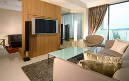 Interior design - living. Living area and entertainment room Royalty Free Stock Photography