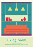 Interior design, living stock illustration