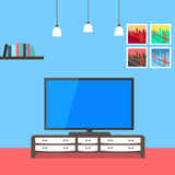 Interior design of living room background. Furniture: bookshelves, pictures, lamps, big tv, cupboard. Royalty Free Stock Images