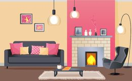 Interior Design of Cozy Living Room with Fireplace. Interior design of living room with brick fireplace, leather armchair, fluffy carpet, metal coffee table and Royalty Free Stock Photos