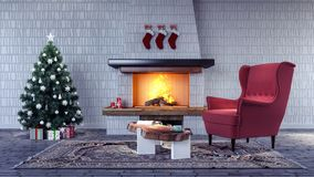 Interior design of living room with Christmas decoration. Christmas tree with ornaments, red armchair and fireplace 3d Render Royalty Free Stock Image