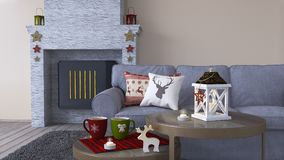 Interior design of living room with Christmas decoration. 3d Render Stock Photo