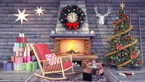Interior design of living room with Christmas decoration 3d Render. 3d illustration stock illustration