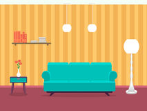 Interior design of living room in flat style with furniture, sofa, table, bookshelf, lamp. Indoor designing example. Royalty Free Stock Photo