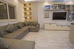 Interior design of luxury apartment living room stock image