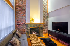 Interior design of a luxury living room. With a brick wall and fireplace Royalty Free Stock Photography