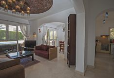Interior design of luxury villa living room. Living room lounge in luxury villa show home showing interior design decor furnishing Stock Photo