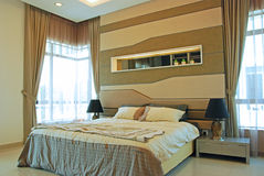 Interior Design of Master Bedroom. In a double storey House stock photos