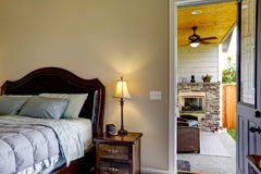 Interior design of master bedroom with exit to back yard. Royalty Free Stock Images