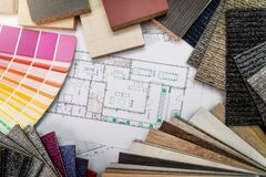 Free Interior Design Materials And Color Samples With Floor Plan Blueprint Stock Photo - 169386780