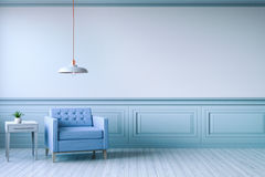 Minimalist  interior design,light blue armchair with white lamp on blue frame wall and white wood flooring , 3d render Stock Image
