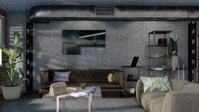 Interior design minimalista moderno 3D del salone Fotografia Stock