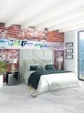 Interior design minimo di stile della camera da letto bianca con la parete di legno ed il sofà grigio rappresentazione 3d illustr Fotografia Stock Libera da Diritti