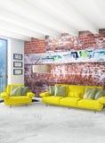 Interior design minimo di stile della camera da letto bianca con la parete di legno ed il sofà grigio rappresentazione 3d illustr Immagini Stock