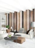 Interior design minimo di stile della camera da letto bianca con la parete di legno rappresentazione 3d illustrazione 3D Immagine Stock