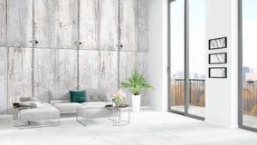 Interior design minimo di stile della camera da letto bianca nuovissima del sottotetto con la parete del copyspace e vista dalla  royalty illustrazione gratis