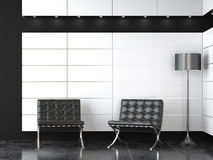 Interior design of modern b&w reception royalty free illustration