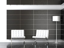 Interior design of modern B&W reception stock photos