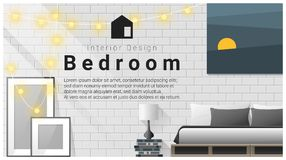 Interior design with Modern bedroom background , vector Royalty Free Stock Photo