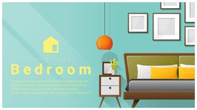 Interior design with Modern bedroom background , vector Royalty Free Stock Photos