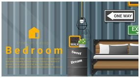 Interior design with Modern bedroom background , vector Royalty Free Stock Image