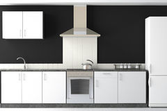 Interior design of modern black kitchen Stock Photo