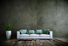 Interior design modern bright room with white sofa. 3d Illustration royalty free illustration