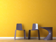 Interior design modern chairs on orange wall royalty free stock image