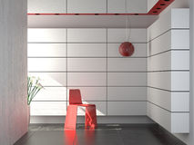 Interior design of modern composition. With red chair and lamp in white and black wall and floor Royalty Free Stock Photography