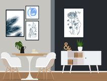 Interior design of a modern dining room with fashionable furniture. Vector flat illustration. Vector illustration. Painted in shape royalty free illustration