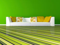 Interior design of modern green living room Stock Photography