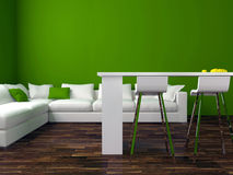 Interior design of modern green living room Royalty Free Stock Images