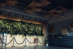 Interior design of modern hotel lobby. Shopping center hall. Business center hallway. Wall with plants. Interior design of modern hotel lobby. Shopping center Royalty Free Stock Image