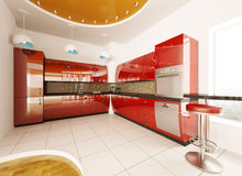 Interior design of modern kitchen 3d render Stock Photo