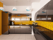 Interior design of modern kitchen 3d render Royalty Free Stock Photos