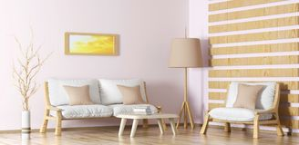 Interior design of modern living room with sofa, coffee table a. Interior design of modern living room with sofa, armchair, coffee table and floor lamp, 3d Royalty Free Stock Images
