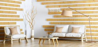 Interior design of modern living room with sofa, coffee table a. Interior design of modern living room with sofa, armchair, coffee table and floor lamp, 3d Royalty Free Stock Photography
