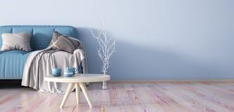 Interior design of modern living room with sofa 3d rendering stock illustration