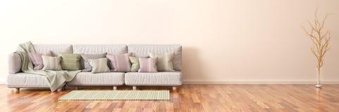 Interior design of modern living room with sofa, 3d rendering. Interior design of modern living room with sofa and branch, 3d rendering royalty free illustration