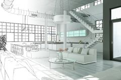 Free Interior Design Modern Loft Drawing Gradation Into Photograph Royalty Free Stock Photos - 117595148