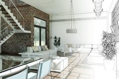 Free Interior Design Modern Loft Drawing Gradation Into Photograph Royalty Free Stock Photography - 117595647